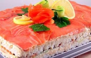 фисташковый торт с красной рыбой